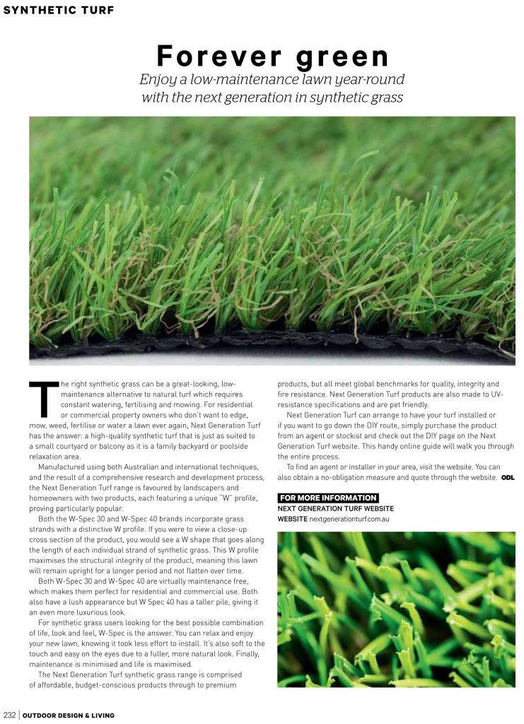 Outdoor Design and Living feature on Next Generation Turf