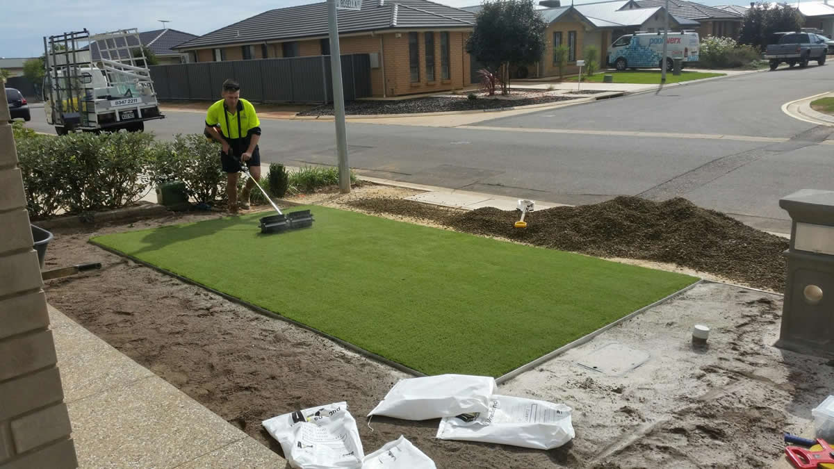 residential artificial grass 1 installation